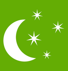 moon and stars icon green vector image
