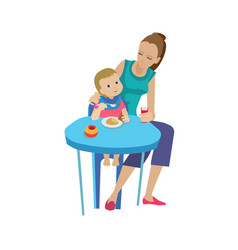 mother woman feeds baby delicious eating healthy vector image