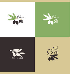 Olive branches logo icons set vector