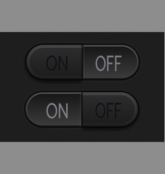 on and off oval black buttons normal and pushed vector image