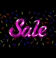 pink text sale lettering on black background vector image