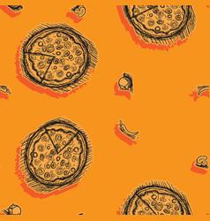 pizza seamless pattern hand-drawn stroke orange vector image