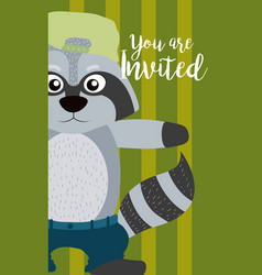 raccoon cute animal cartoon invitation card vector image