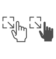 Resize gesture line and glyph icon enlarge touch vector