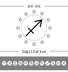 Sagittarius signs of zodiac flat linear icons vector