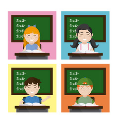 school kids seated at classroom vector image