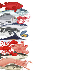 Seafood background banner vector