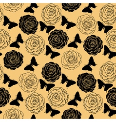 Seamless background with butterflies and roses vector