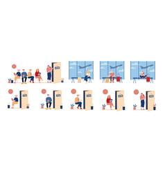 Set characters hiring at job applicants sit vector
