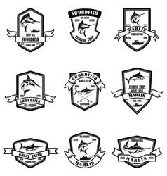 set deep sea marlin fishing emblems design vector image