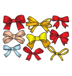 Set of bows hand drawn vector image