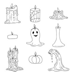 set of halloween and melted wax candles vector image