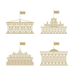 set of houses with a flag on the roof vector image