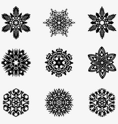 set of winter snowflakes for christmas black vector image