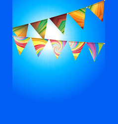 Striped bunting over sunny blue sky vector