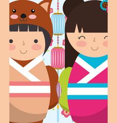 Sweet japanese kokeshi dolls in kimono vector