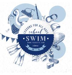 swim school emblem vector image