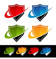 Swoosh Shield Logo Icons vector image