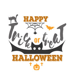 trick or treat happy halloween logo sign vector image
