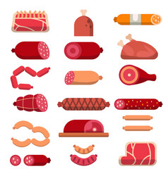 various products of butcher shop flat vector image