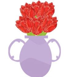 Vase of roses vector