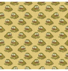 Vintage cartoon frogs pattern vector image