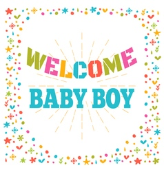 Welcome baby boy shower card Cute postcard Arrival vector