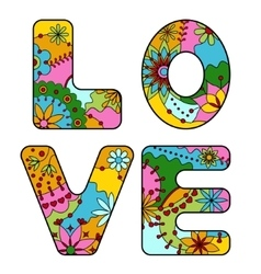 Word love painted colorful vector