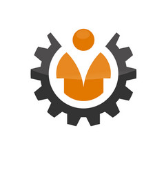 Worker man in wheel logo icon vector
