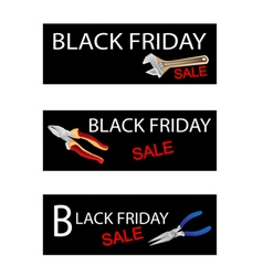 Wrench and Pliers on Black Friday Sale Banners vector image vector image