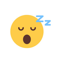Yellow smiling cartoon face sleep emoji people vector