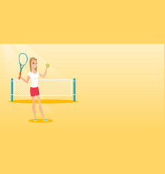 Young caucasian tennis player vector