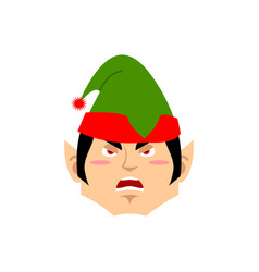 christmas elf angry emoji santa helper aggressive vector image