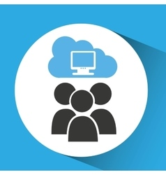 cloud connection social media computer vector image