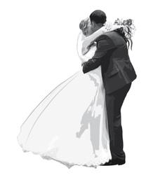 Figures hugging honeymooners in gray vector image