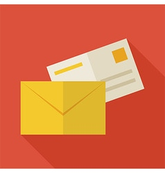 Flat Business Office Mail Envelope with long vector image