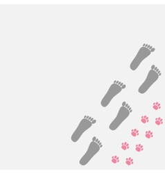 Grey bare foot print and pink paw print in the vector image