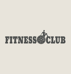 woman silhouette on fitness club text vector image vector image