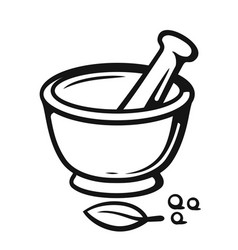Mortar and pestle with spices outline style vector