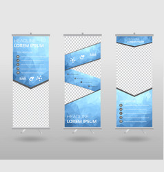 red roll up banner template and info graphics vector image