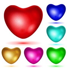 Set of textured hearts vector image vector image