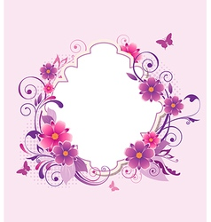 Background with pink and violet flowers vector