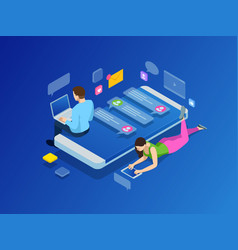 isometric concept of friends teenagers with vector image vector image
