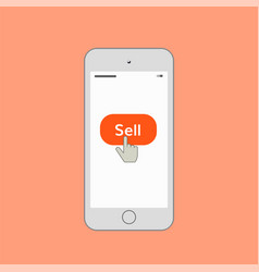 Mobile phone with sell button vector