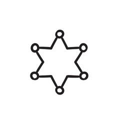 police star sketch icon vector image
