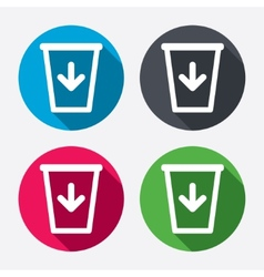 Send to the trash icon Recycle bin sign vector image vector image