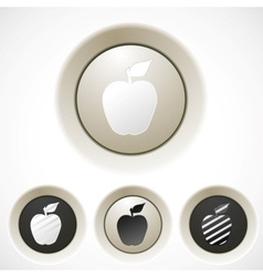 White buttons set with apple silhouette vector image vector image