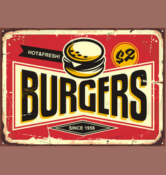 burgers vintage tin sign vector image vector image