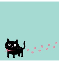 Cartoon cat and paw print track in the corner vector image vector image