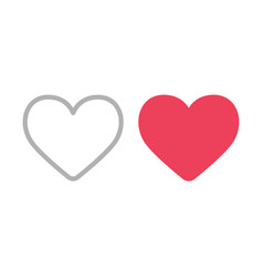 heart icons filled and outline like symbols vector image
